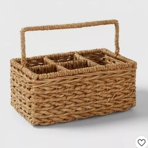 Chunky Seagrass Woven Utensil Caddy Beige